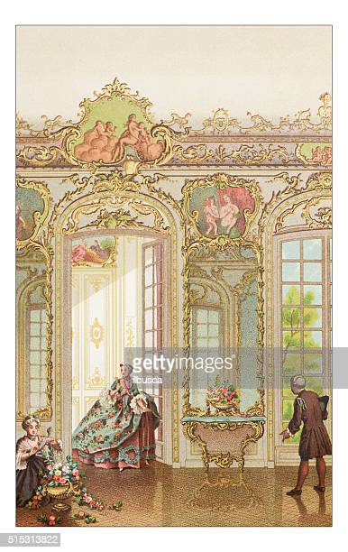 antique illustration of luxury home - classical style stock illustrations, clip art, cartoons, & icons