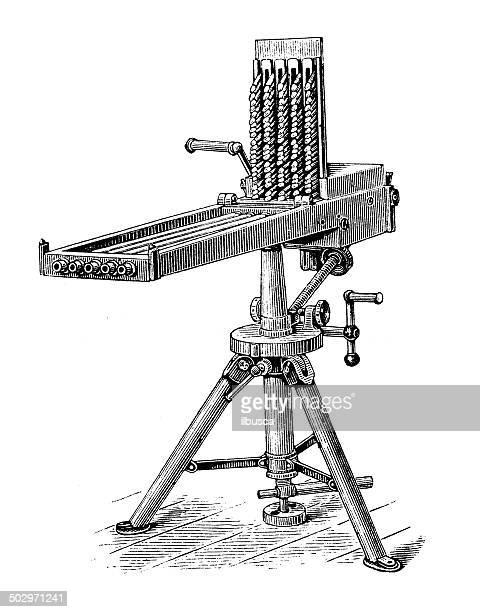 antique illustration of machine gun - machine gun stock illustrations, clip art, cartoons, & icons