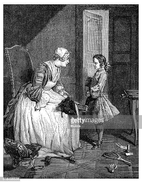 illustrations, cliparts, dessins animés et icônes de ancienne illustration de femme et garçon - assistante maternelle