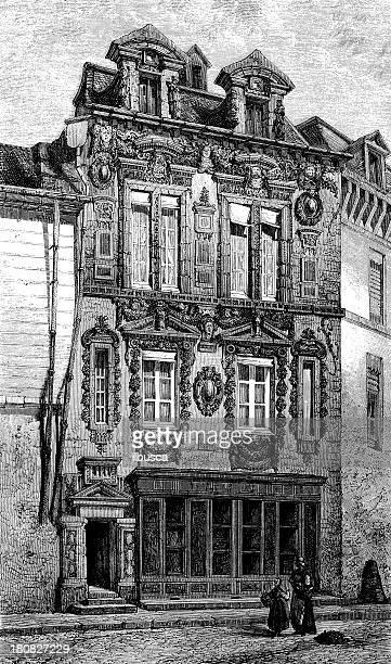 antique illustration of maison milsand, dijon - maison stock illustrations, clip art, cartoons, & icons