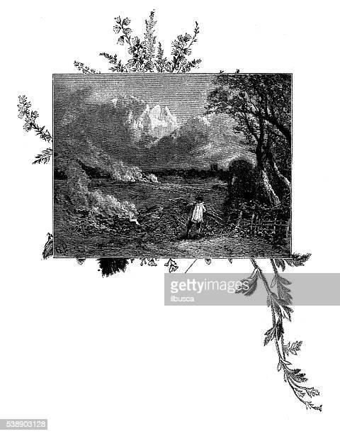 Antique illustration of man burning sticks