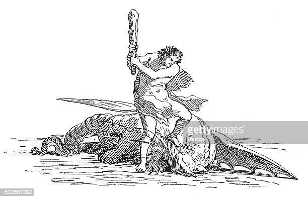 Antigo ilustração de um dragão homem matar