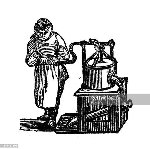 antique illustration of manual milling - baker occupation stock illustrations