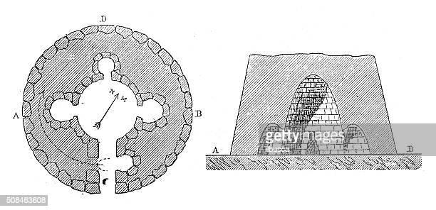ilustrações de stock, clip art, desenhos animados e ícones de ilustração de mapa antigo e secção de sardenhoname nuraghe - megalith