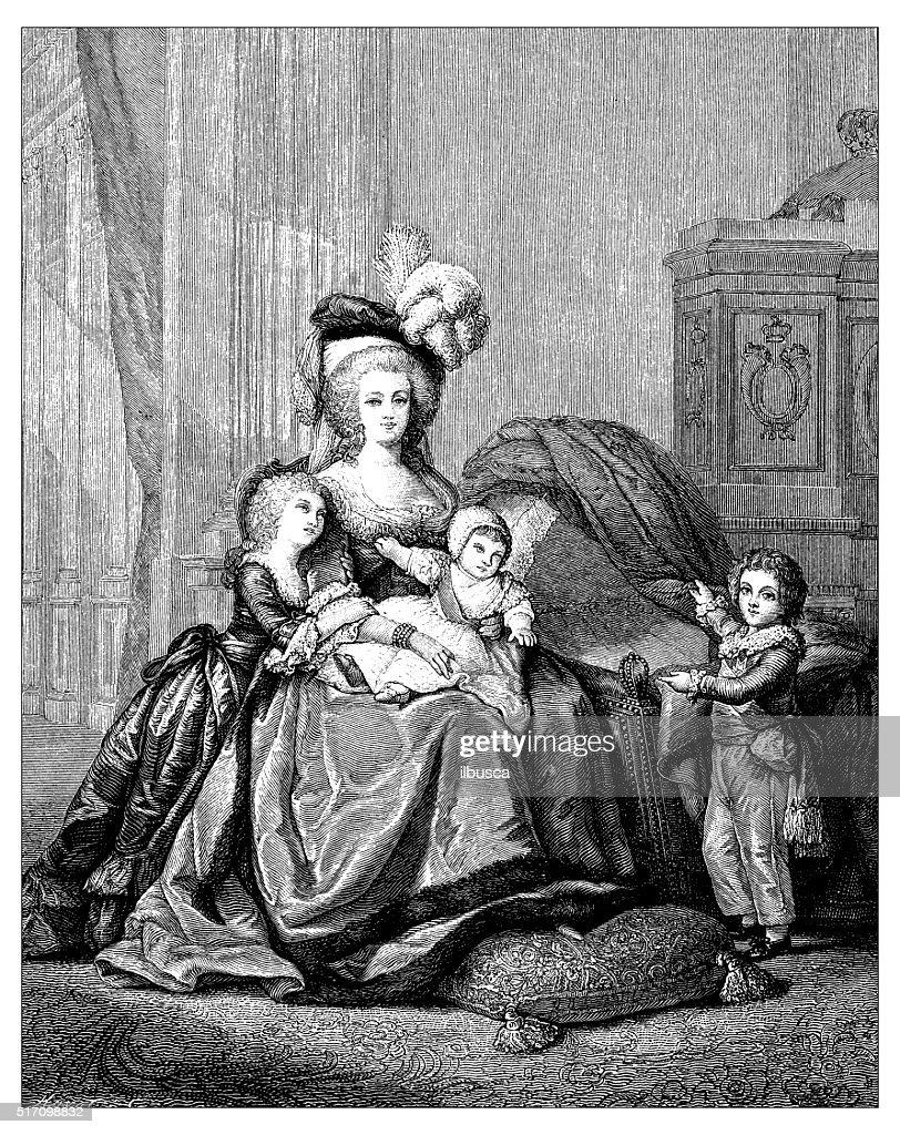 Antique illustration of Marie Antoinette and children : Stock Illustration