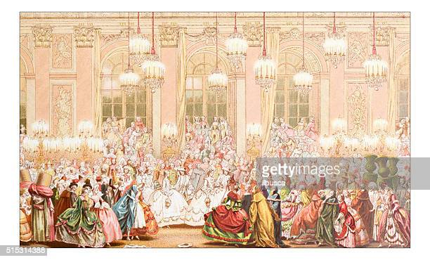 antique illustration of masked ball - traditional clothing stock illustrations