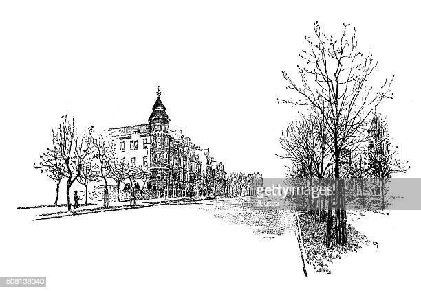 Antique illustration of Massachusetts Avenue, Washington