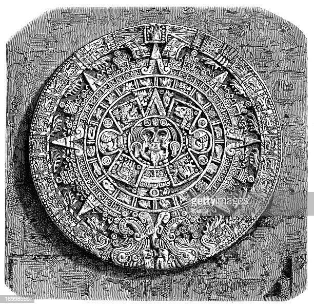 ilustraciones, imágenes clip art, dibujos animados e iconos de stock de anticuario ilustración de piedra calendario maya - calendario maya