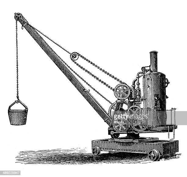 antique illustration of mechanical crane - crane construction machinery stock illustrations