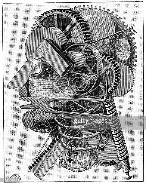Antique illustration of mechanical man
