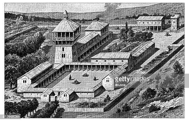 Merovingian ilustração de medieval antigo edifício residencial