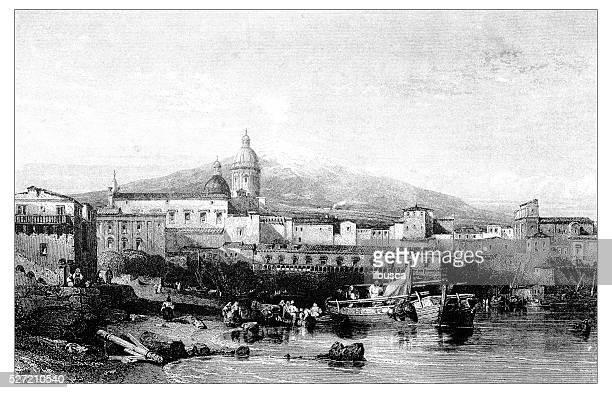 antique illustration of mediterranean landscapes: catania and mount etna - sicily stock illustrations, clip art, cartoons, & icons