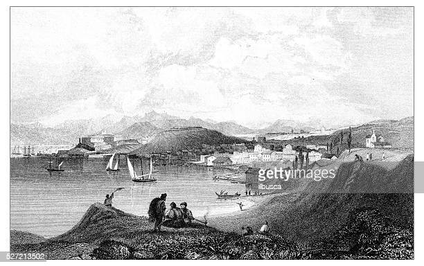 antique illustration of mediterranean landscapes: corfu - greek islands stock illustrations, clip art, cartoons, & icons
