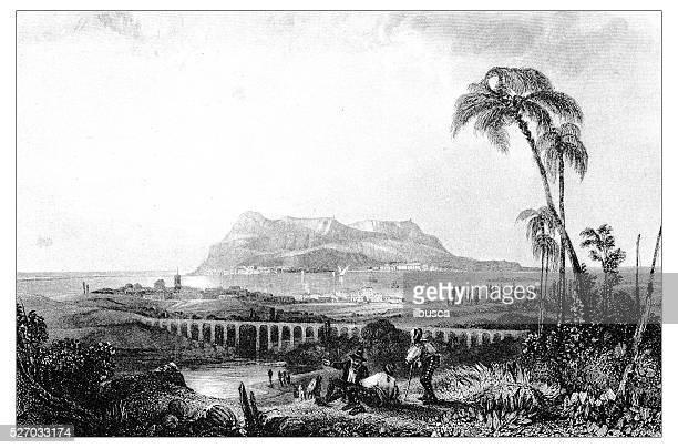 antique illustration of mediterranean landscapes: gibraltar - aqueduct stock illustrations, clip art, cartoons, & icons