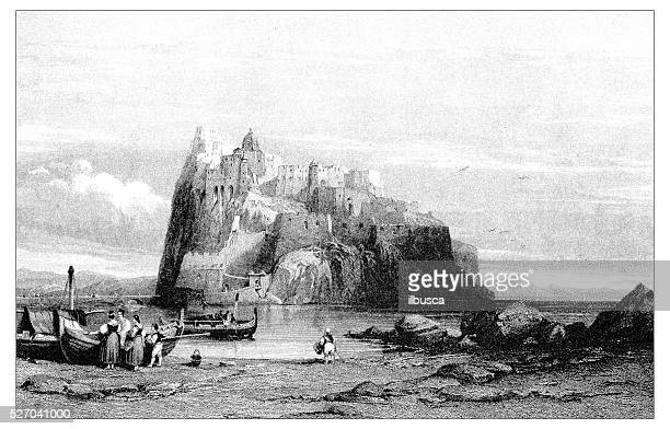 antique illustration of mediterranean landscapes: ischia castle - naples italy stock illustrations