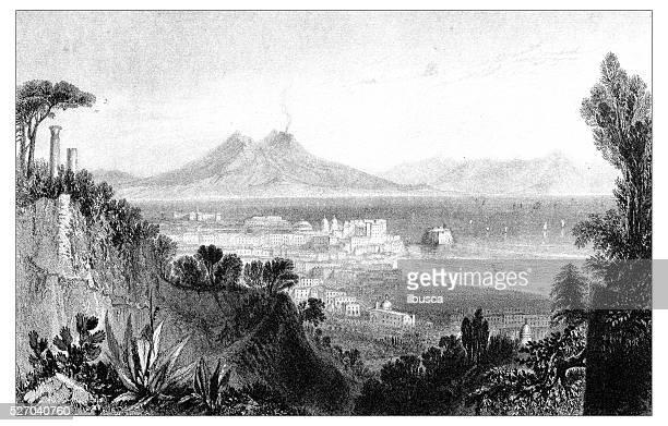 antique illustration of mediterranean landscapes: naples - mt vesuvius stock illustrations, clip art, cartoons, & icons