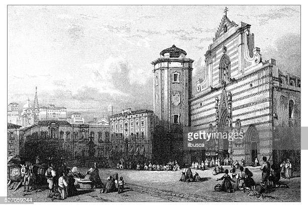 antique illustration of mediterranean landscapes: piazza del duomo, messina - milan stock illustrations, clip art, cartoons, & icons