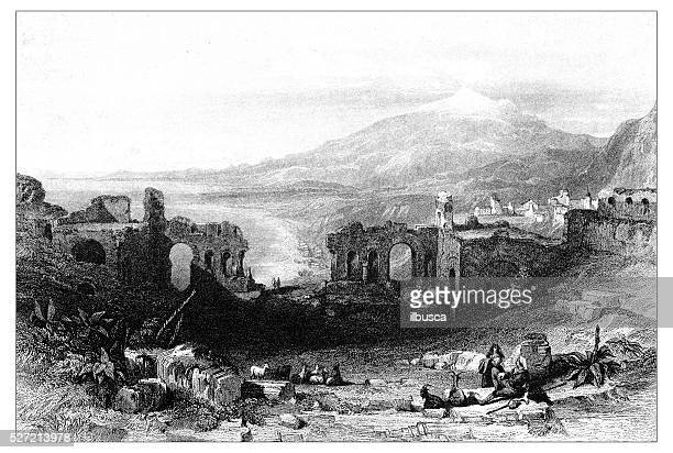 antique illustration of mediterranean landscapes: ruins of theatre, taormina - sicily stock illustrations, clip art, cartoons, & icons