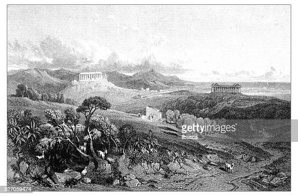 antique illustration of mediterranean landscapes: temple of juno lucina, agrigento - agrigento stock illustrations