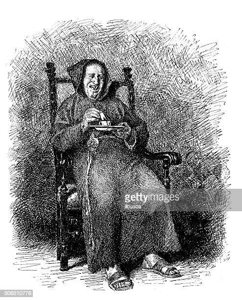 Antique illustration of monk having a cup of chocolate