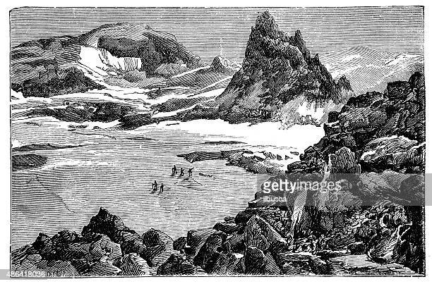 antique illustration of mont blanc expedition - mont blanc stock illustrations, clip art, cartoons, & icons