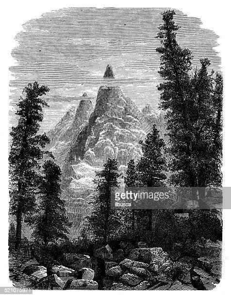 antique illustration of mont blanc - mont blanc stock illustrations, clip art, cartoons, & icons