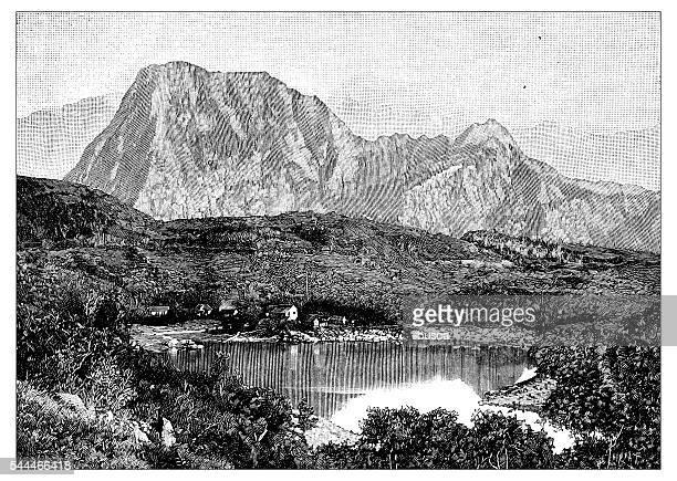 antique illustration of montagne pelée - martinique - martinique stock illustrations