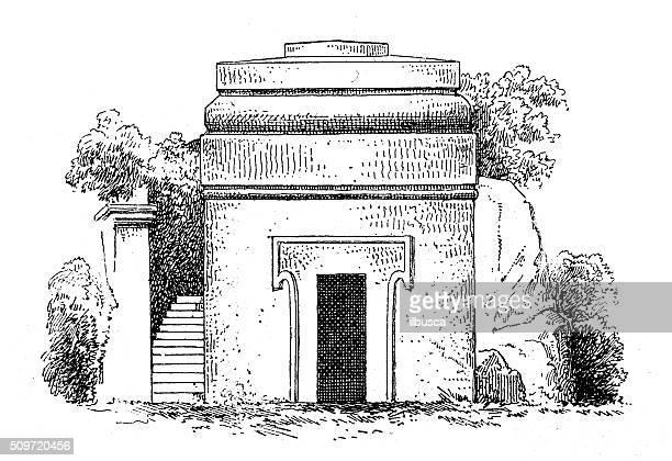antique illustration of monumental etruscan tomb - etruscan stock illustrations