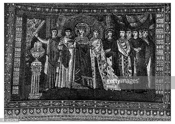 ilustrações de stock, clip art, desenhos animados e ícones de antigo ilustração de mosaico da igreja de san vitale-ravenna (itália - nicho