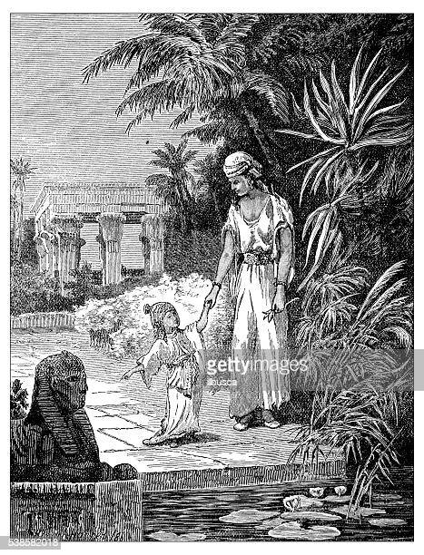ilustrações, clipart, desenhos animados e ícones de ilustração antiga de moisés e sua mãe - história