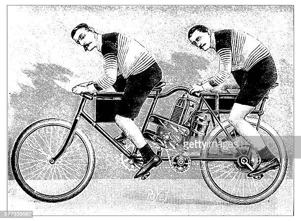 antique illustration of motorbike concept - antique stock illustrations