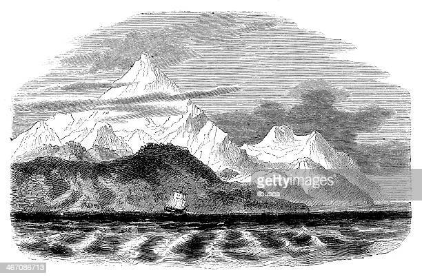 Antique illustration of Mount Sarmiento in Strait Magellan
