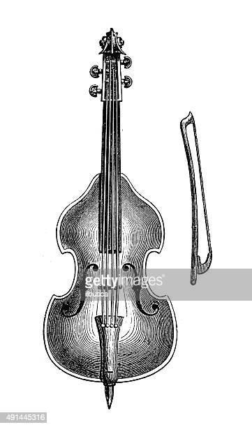 illustration anciens instruments de musique: Contrebasse