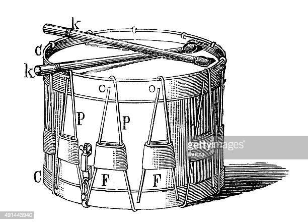 illustrations, cliparts, dessins animés et icônes de illustration anciens instruments de musique: drum - tambour et batterie
