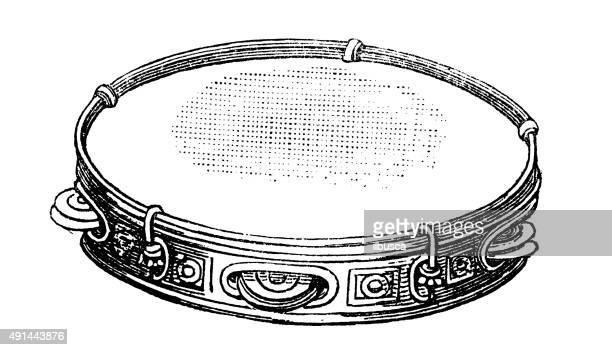 antique illustration of musical instruments: tambourine - tambourine stock illustrations