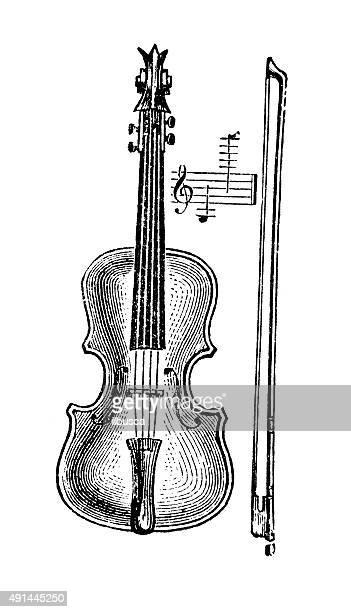 antique illustration of musical instruments: violin - violin stock illustrations, clip art, cartoons, & icons