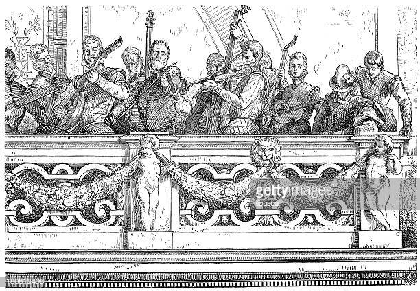 antique illustration of musicians on balcony - orchestra stock illustrations, clip art, cartoons, & icons