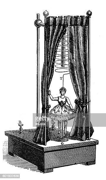 antique illustration of musix box carillon dancing doll toy - music box stock illustrations
