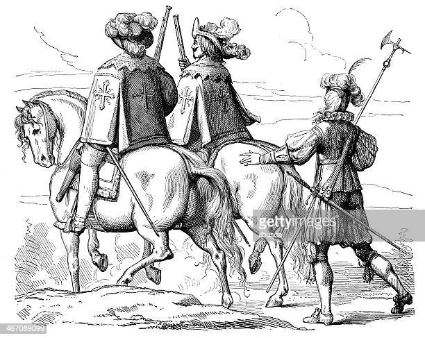 antique illustration of musketeers - musketeer stock illustrations, clip art, cartoons, & icons