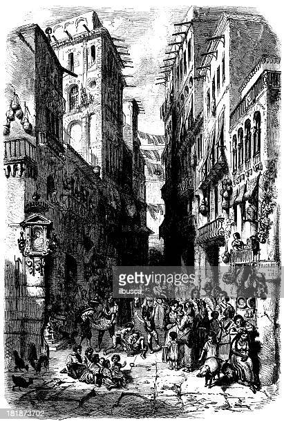 antique illustration of naples street - naples italy stock illustrations
