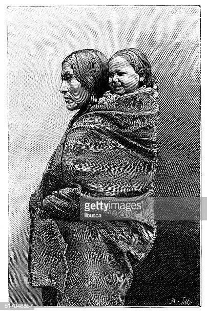 antique illustration of native american woman - indigenous north american culture stock illustrations, clip art, cartoons, & icons