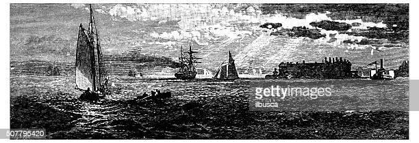 antique illustration of new york harbour - zion national park stock illustrations, clip art, cartoons, & icons