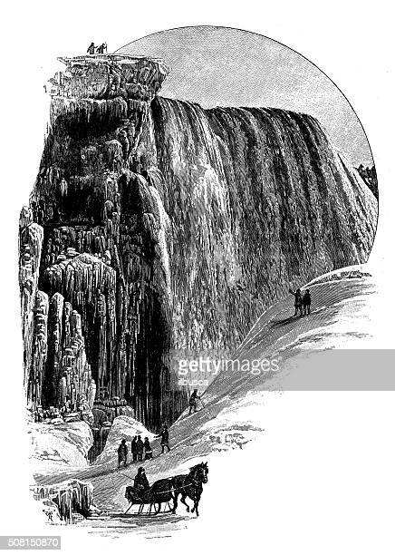 antique illustration of niagara falls in winter - niagara river stock illustrations