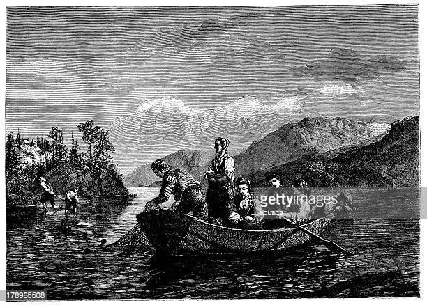 antique illustration of norwegian fishermen on lake mioessen - 19th century stock illustrations, clip art, cartoons, & icons
