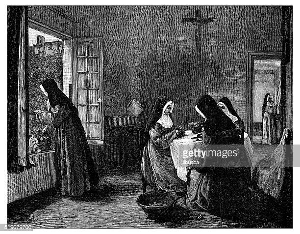 antique illustration of nuns peeling fruits - nun stock illustrations