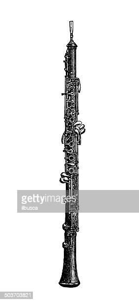 antikes illustration oboe - oboe stock-grafiken, -clipart, -cartoons und -symbole