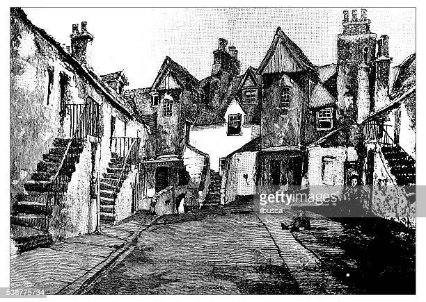 Antique illustration of old Edinburgh: White Horse Inn