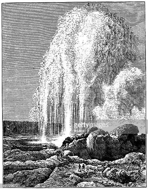Antique illustration of Old faithful geyser