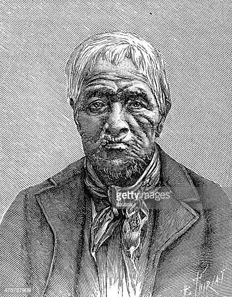 antique illustration of old man - fine art portrait stock illustrations, clip art, cartoons, & icons