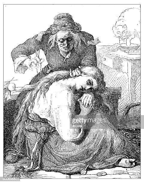antique illustration of old woman cutting a woman's hair - tarot cards stock illustrations, clip art, cartoons, & icons